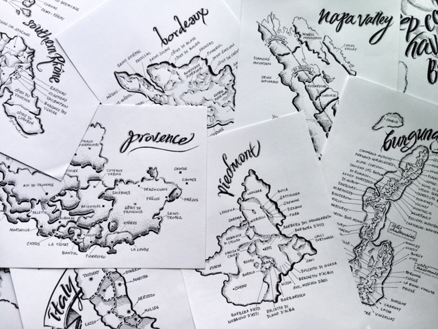 girl meets wine hand drawn maps