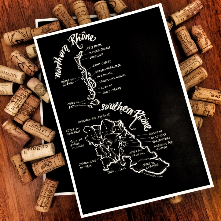 Rhône Valley wine map art drawing illustration