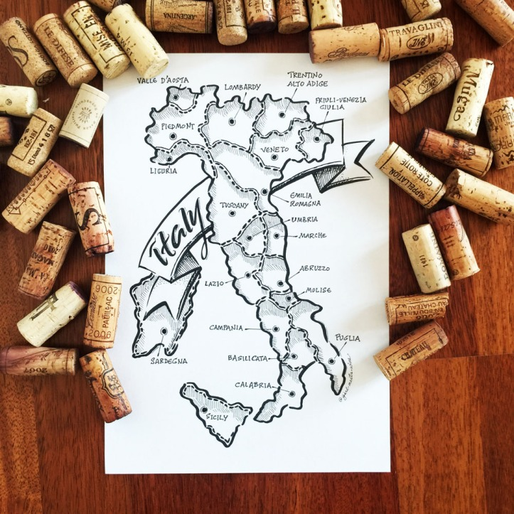 Girl meets wine Italy map Etsy